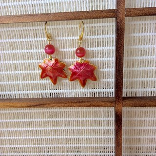 Meow ~ Handmade Maple Leaf Cloisonne Earrings / red