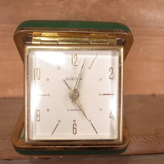 Old bone EUROPA green mechanical travel alarm clock VINTAGE