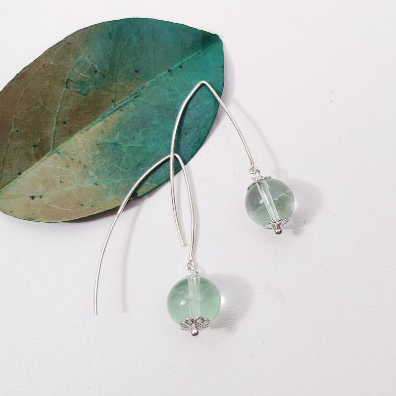Natural green fluorite rainbow gemstone earrings / clip gift lover custom