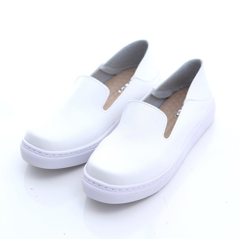 [ZUCCA] solid color leather platform shoes - white -z6631we