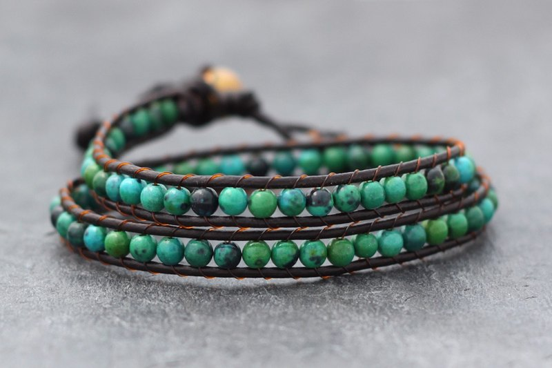 Chrysocolla Double Wrap Brown Leather Bracelet Woven