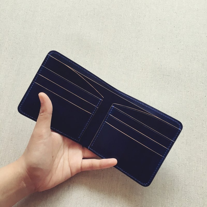Multi-card short clip wallet Italian vegetable tanned leather dyeing Tibetan blue handmade design custom