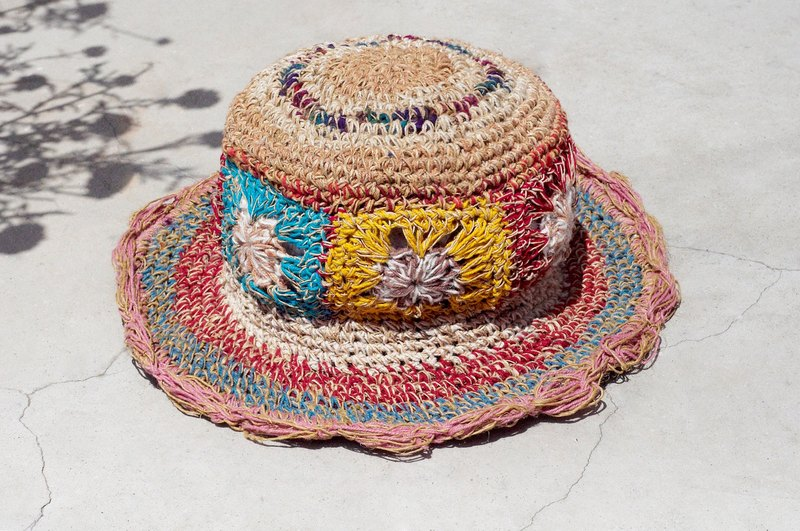 Valentine's Day gift limited to a hand-woven cotton / hat / hat / fisherman hat / straw hat / sun hat / hook hat - bright color fresh ocean wind flower weaving