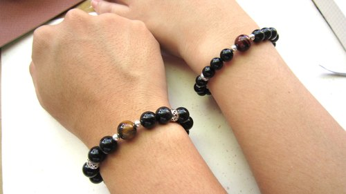 Good Love Obsidian x Tiger eye x 925 Silver - 1 + 1 couples on the chain - Handmade natural stone series