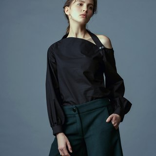 Black sloping shoulder top