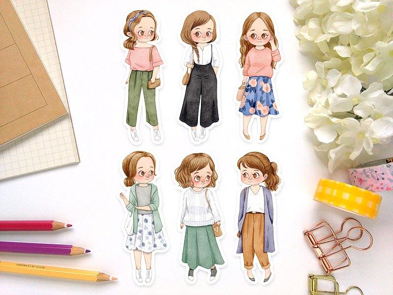 水彩春日女孩-褐髮 插畫貼紙組 - 防水貼紙包 手帳貼紙 可愛貼紙