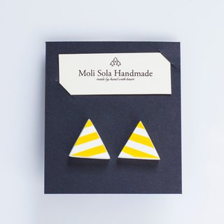 Hand made triangular clay ear stud earrings yellow article