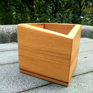 Taiwan Elm pen holder storage tube single oblique shape