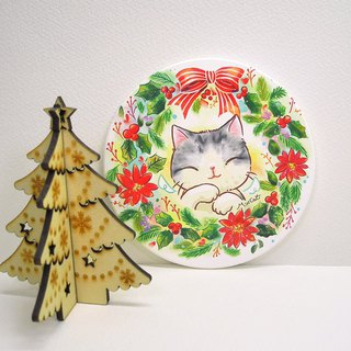 Winter enamel ceramic water coaster