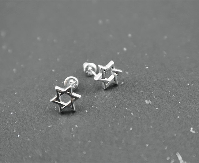 Hexagram Earrings Sterling Silver