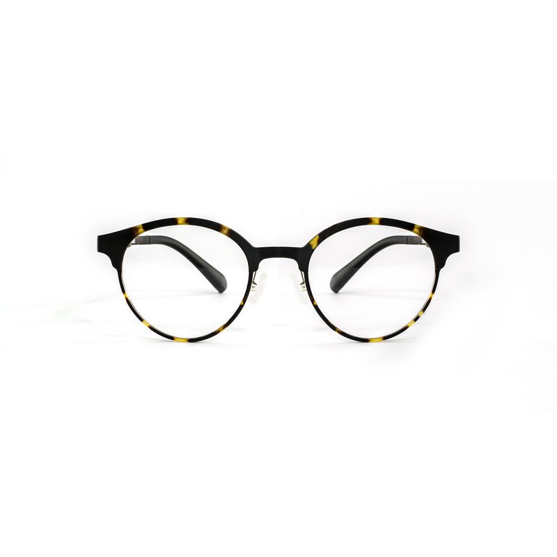 Simple bold dark crepe Boston frame glasses