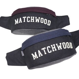 Matchwood Design Matchwood Handy Waist Bag Side Backpack Messenger Bag Portable Bag Black Dates Red Wool