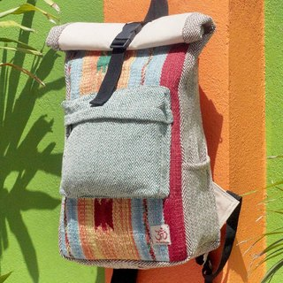 Valentine's Day Limit a hand-made cotton and linen stitching design backpack / shoulder bag / national mountaineering bag / patchwork package - Boho geometric carpet national totem backpack
