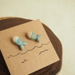 Little Blue Fish Earring