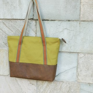 Oz Japan COSMO water repellent canvas kraft green horseradish Tote
