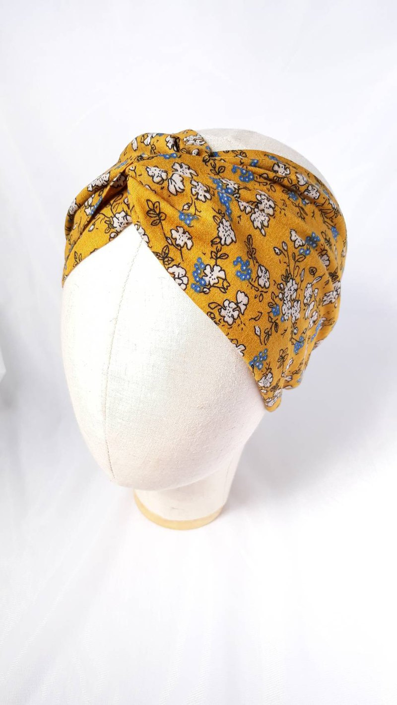 Goose yellow flower headband scarf towel style wide hair band