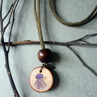 Hand-painted necklace / pendant (purple jellyfish)