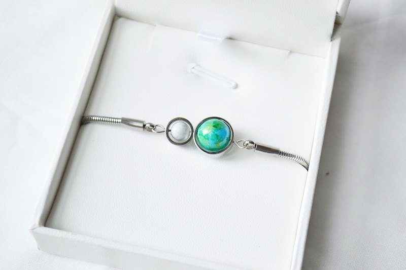Baby blue earth moon silver bracelet