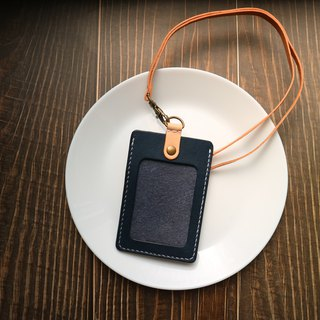Yichuang Small Room | Dark blue vegetable tanned hand dyed hand-sewn simple straight ID holder identification card