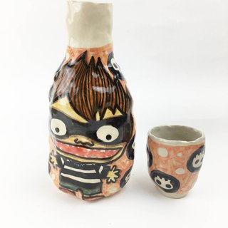 Nice Little Clay Hand Painted Water Bottle _ Killer & Witch 120307