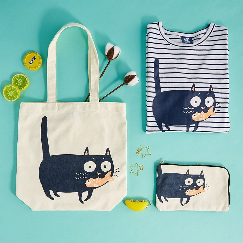 喵喵 Love to eat fish carp cat canvas bag tote bag passport clutch bag makeup debris bag