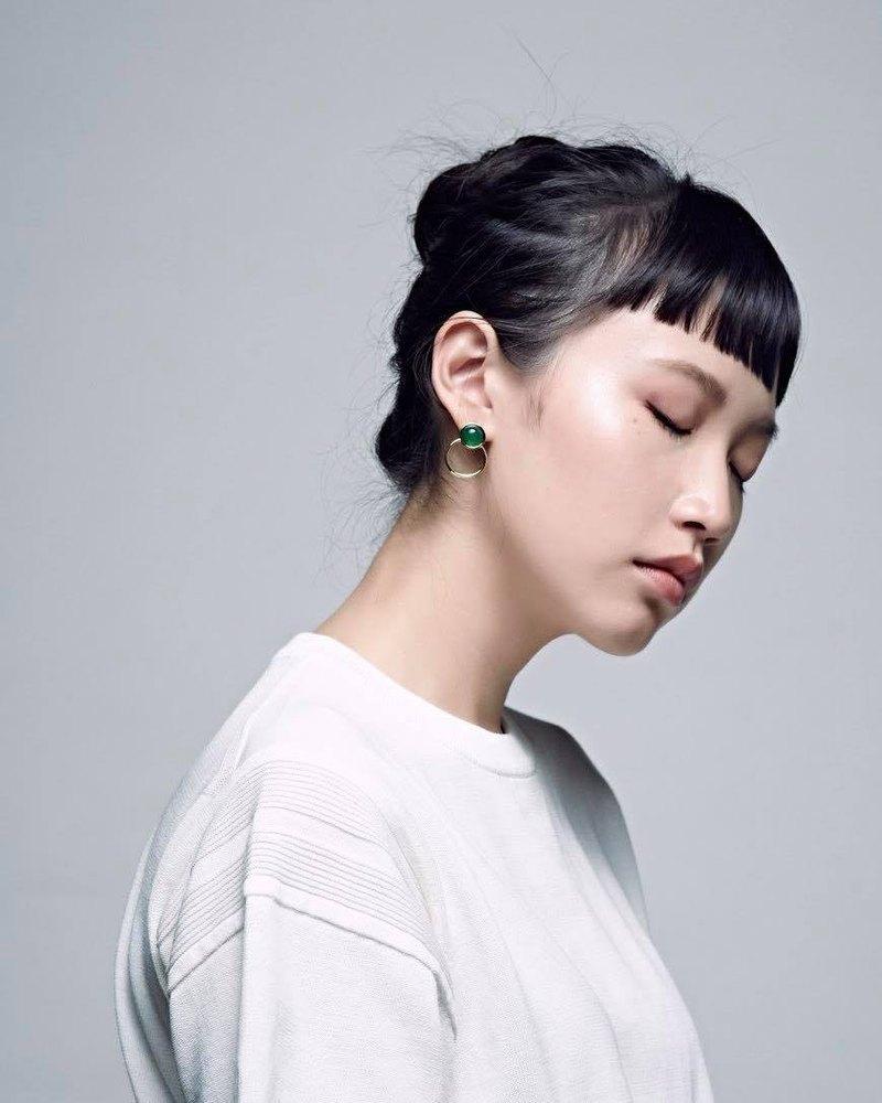 綠色 綠 天然石 耳環 改耳夾 簡約 圓 極簡 金色 圓圈