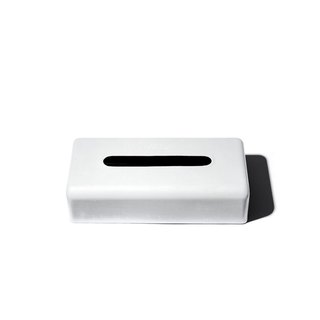 PLAIN TISSUE BOX White Vintage Industrial Steel Tissue Box Limited Edition - White