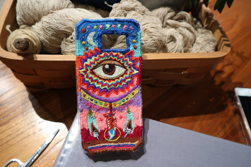 Psychedelic feather,Handmade embroidery,DIY material ,Samsung Phonecase