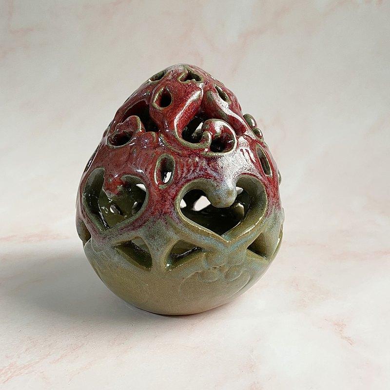 蛋形手工鏤刻陶瓷燈罩