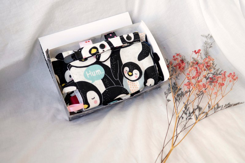 (spot) Mi Yue gift box | eight yarn gauze towel, appease towel, pacifier clip | Penguin is coming
