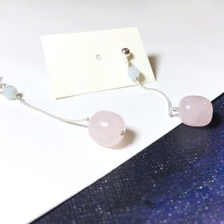 925 silver-rose quartz & aquamarine earrings