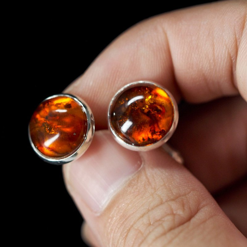Amber Gemstone Silver Cufflinks | Small Cuff Links | Gift for men him