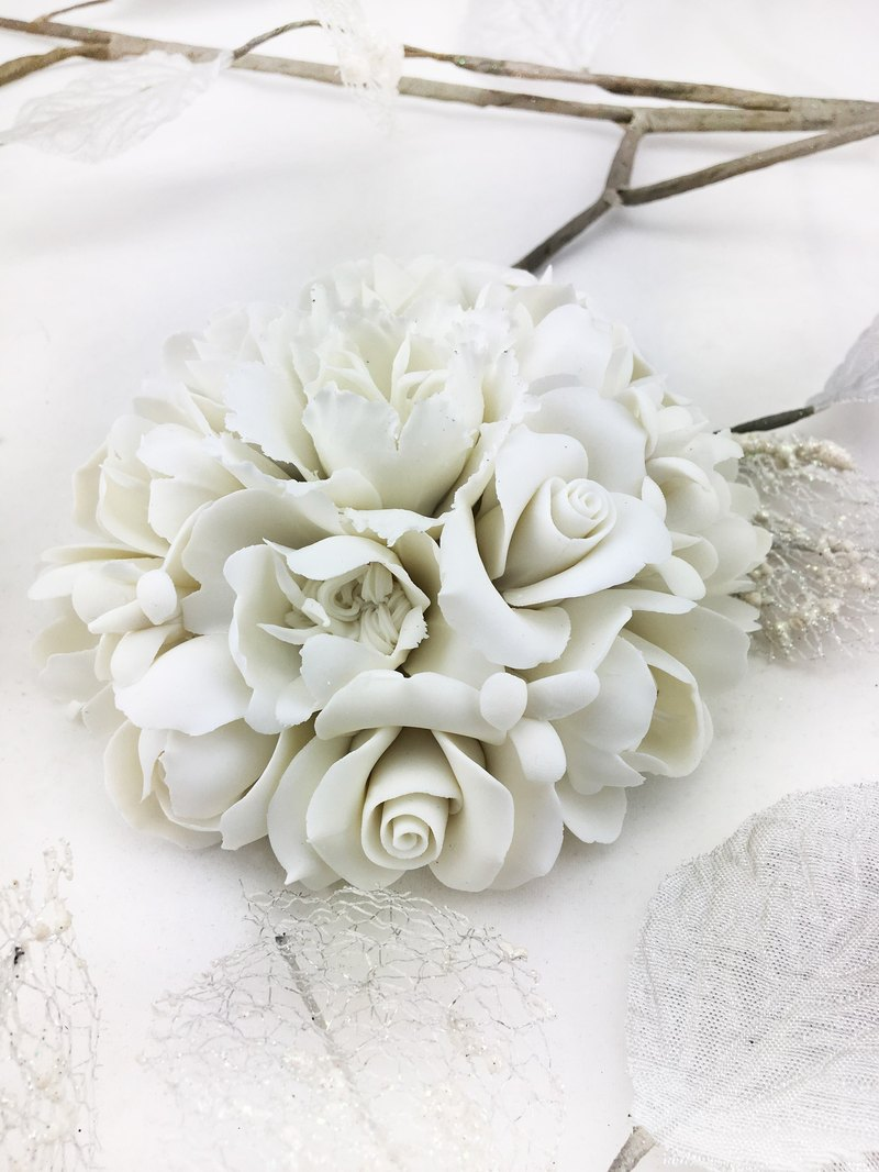 CereiZ immortal porcelain flowers eternal white rose ceremony - eternal life semicircle bouquet