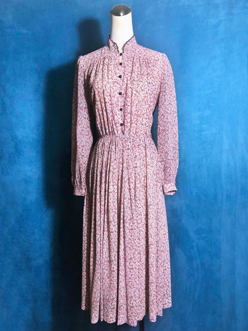 Special collar flower long-sleeved vintage dress / bring back VINTAGE abroad