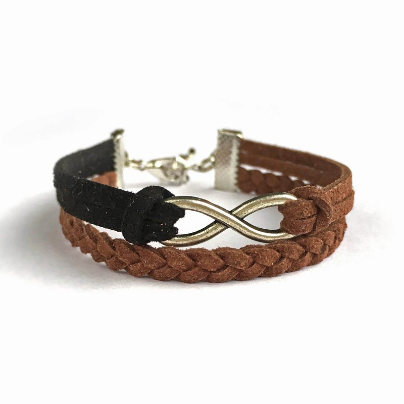 Handmade Double Braided Infinity Bracelets -mocha coffee