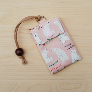 Apple polar bear card bag _ powder / card set business card bag