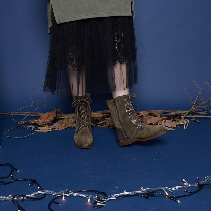 [凛冬远征] rate simple leather boots _ olive army green