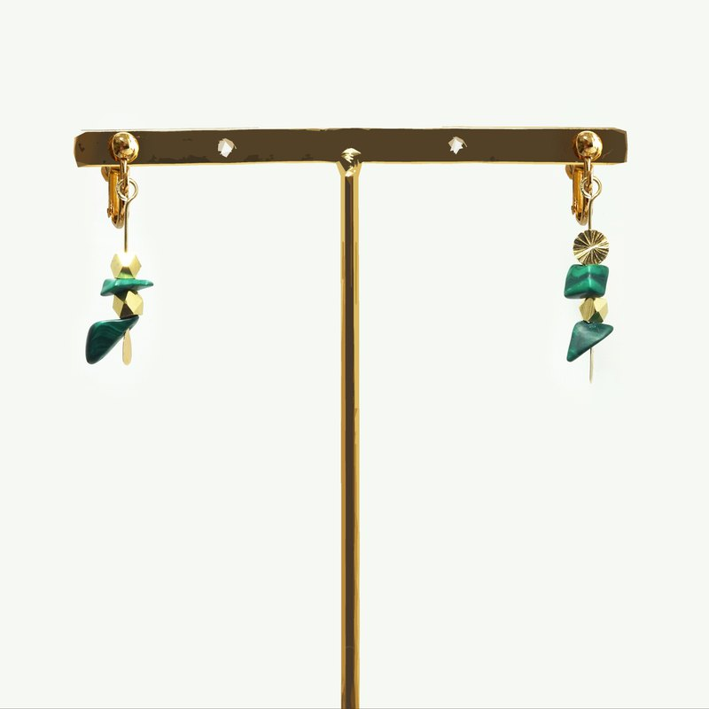 Minimalism - Malachite 14kgf Earrings【Bamboo】【Valentines Day Gift】New Year Gift