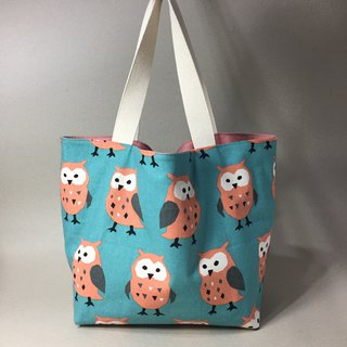 Adoubao-double bread shopping bag green bag shoulder bag - Qingbi x owl