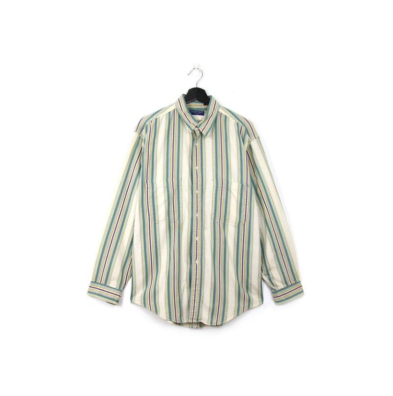 Back to Green:: striped denim shirt green and purple staggered / / vintage shirt
