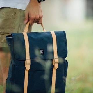 Gift/Design Urban Backpack with Leather Trim - Blue