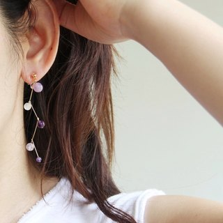 You are walking ~ Amethyst fine 14KGF earrings ear clip / Amethyst 14KGFearring