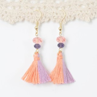 雙色流蘇。粉橙粉紫。施華洛世奇。耳環 Two Colorway Tassel。Pastel Orange Pastel Purple。Swarovski Crystal。Earrings