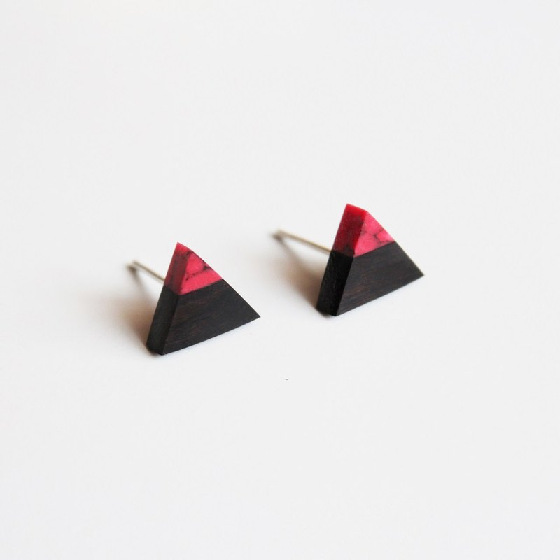 Ebony wood Qiusong stone triangle earrings