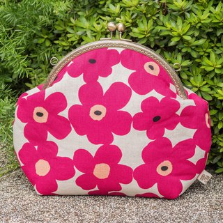 [Flower flower rhyme - pink hemp] retro metal mouth gold bag - big section #随包##斜背#Japanese
