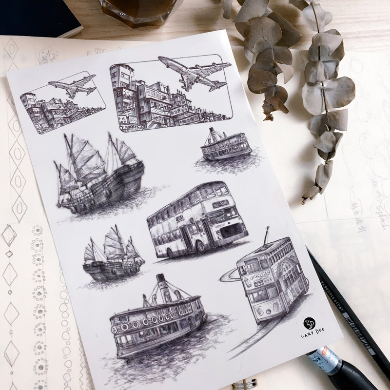 80s Old Hong Kong HK Temporary Tattoo Stickers BUS Airport Ferry Boat Vintage