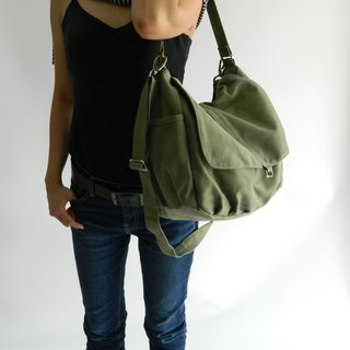 Canvas Messenger bag ,Green Shoulder bag , Travel bag , diaper bag -no.18 DANIEL