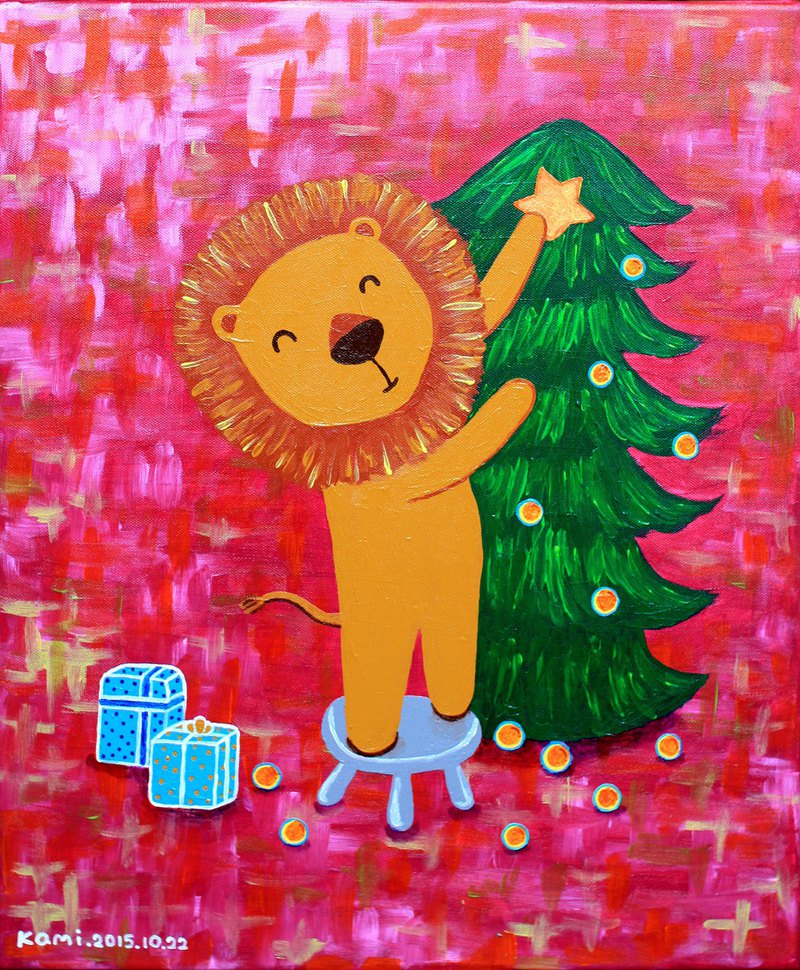 Original painting ∣ Lions decorating the Christmas tree