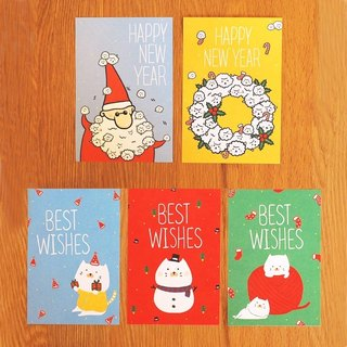 *Mori Shu*Christmas New Year card group - buns cat with bubble sheep's Christmas patty (five in / with envelope)