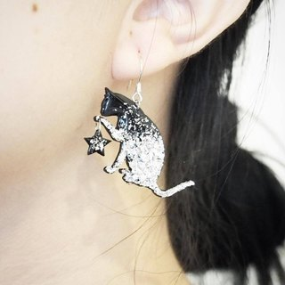Cat Kitten 925 Sterling Silver Vinyl Silver Handmade Earrings